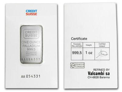 Credit Suisse 1 Ounce Palladium Bar