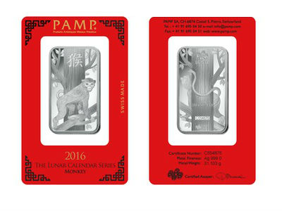 Pamp 1 Ounce Silver Lunar Monkey Bar