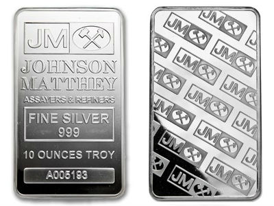 Johnson Matthey Or Engelhard 10 Ounce Silver Bar