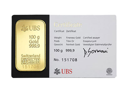 100 Gram Ubs Gold Bar
