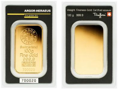 Argor Heraeus 100 Gram Gold Bar