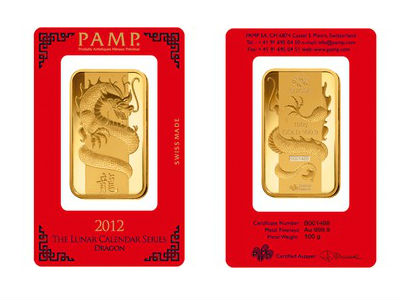 PAMP 100 Gram Lunar Dragon Gold Bar