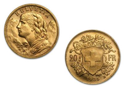 20 Swiss Franc Vreneli Gold Coin