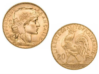 French Franc Marianne Rooster Gold Coin