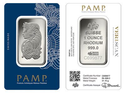 Pamp Suisse One Ounce (1 Oz) Rhodium Bar