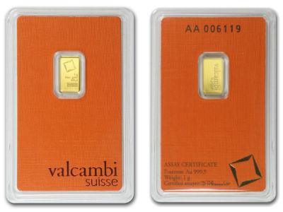 1 Gram bars! Valcambi Suisse